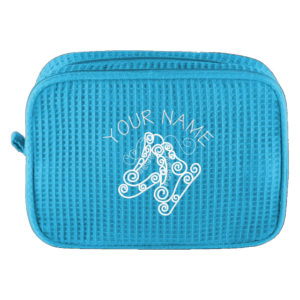 Personalized Cosmetic Bag with Name and Swirly Skates